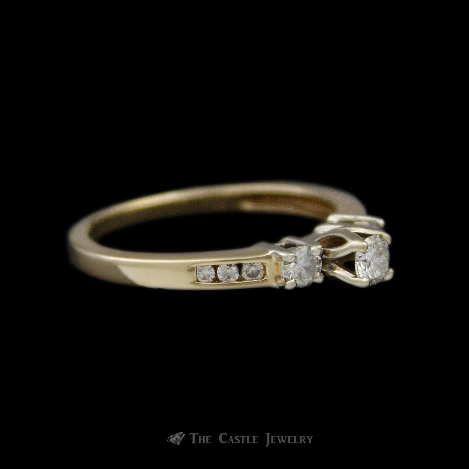 Round Brilliant Cut Diamond Bridal Ring with Round Diamond Sides Crafted in 14K Yellow Gold-2
