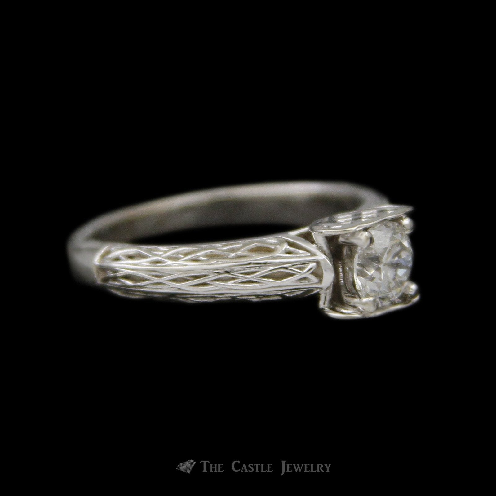 Round Brilliant Cut Diamond Solitaire Engagement Ring in Woven Design Mounting-2