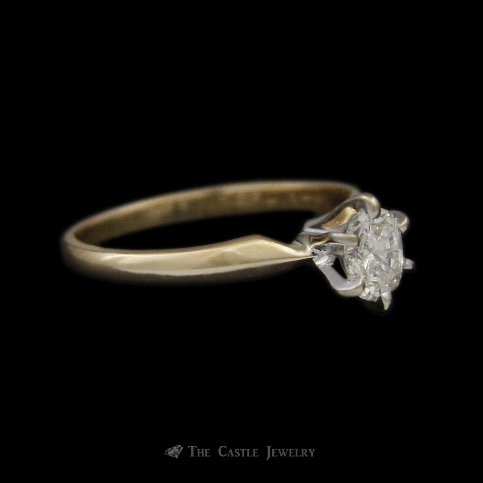 Oval .45ct VS2/G Diamond Solitaire Engagement Ring Crafted in 14k Gold-2