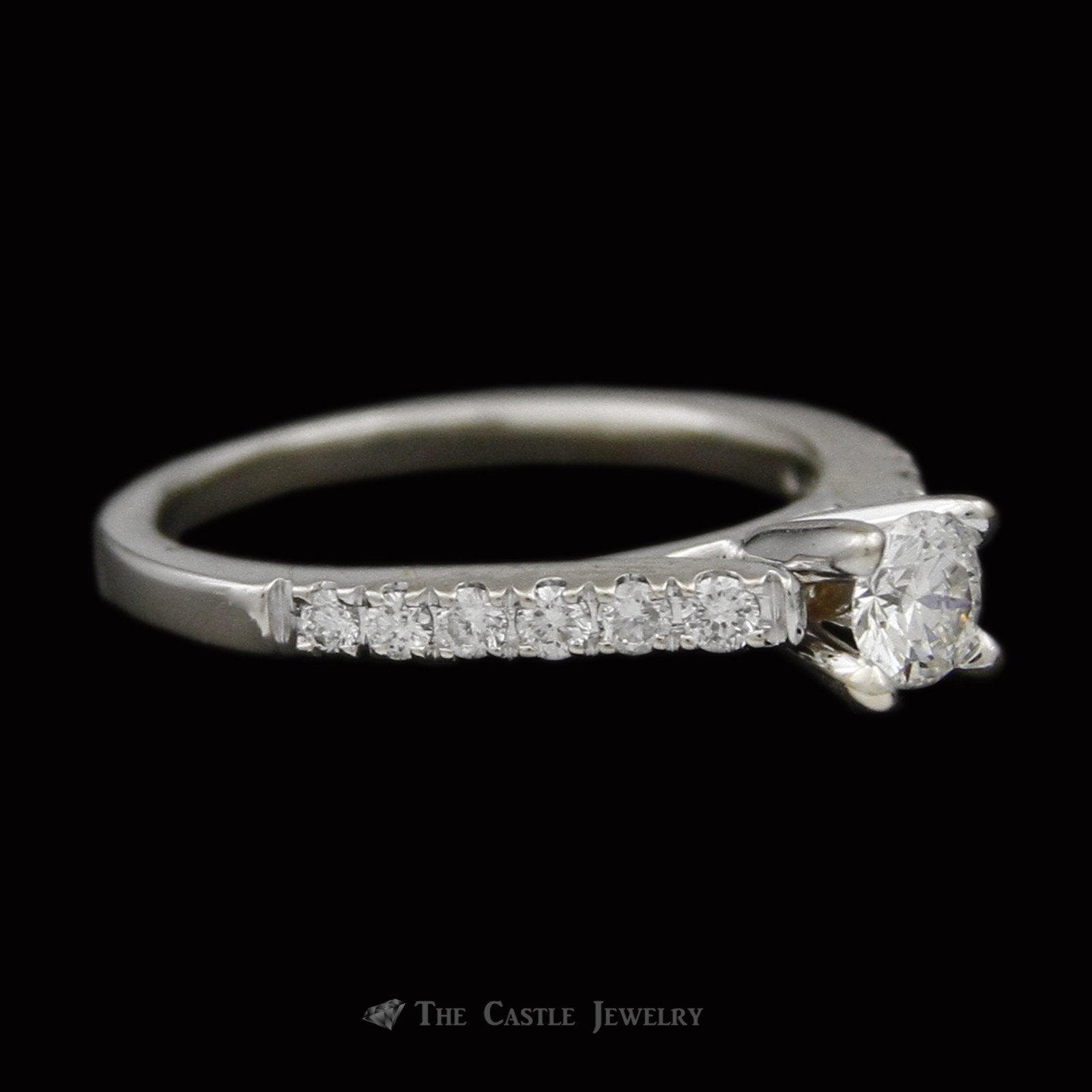 Round Brilliant Cut Diamond Engagement Ring w/ Prong Set Round Diamond Sides in 14k White Gold