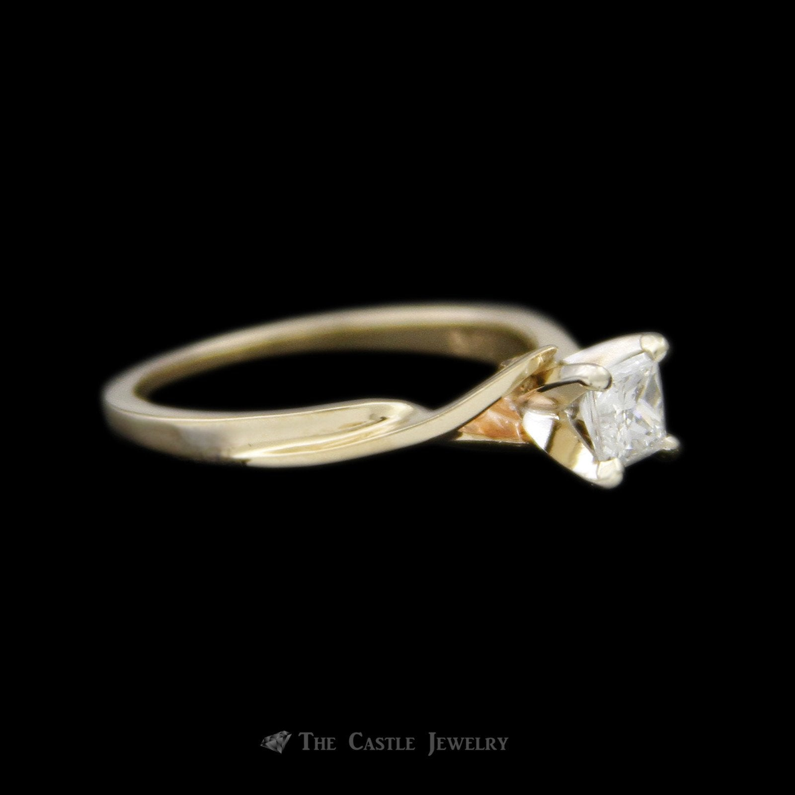 Princess Cut Diamond Solitaire Engagement Ring with Cross Over Design Mounting-2