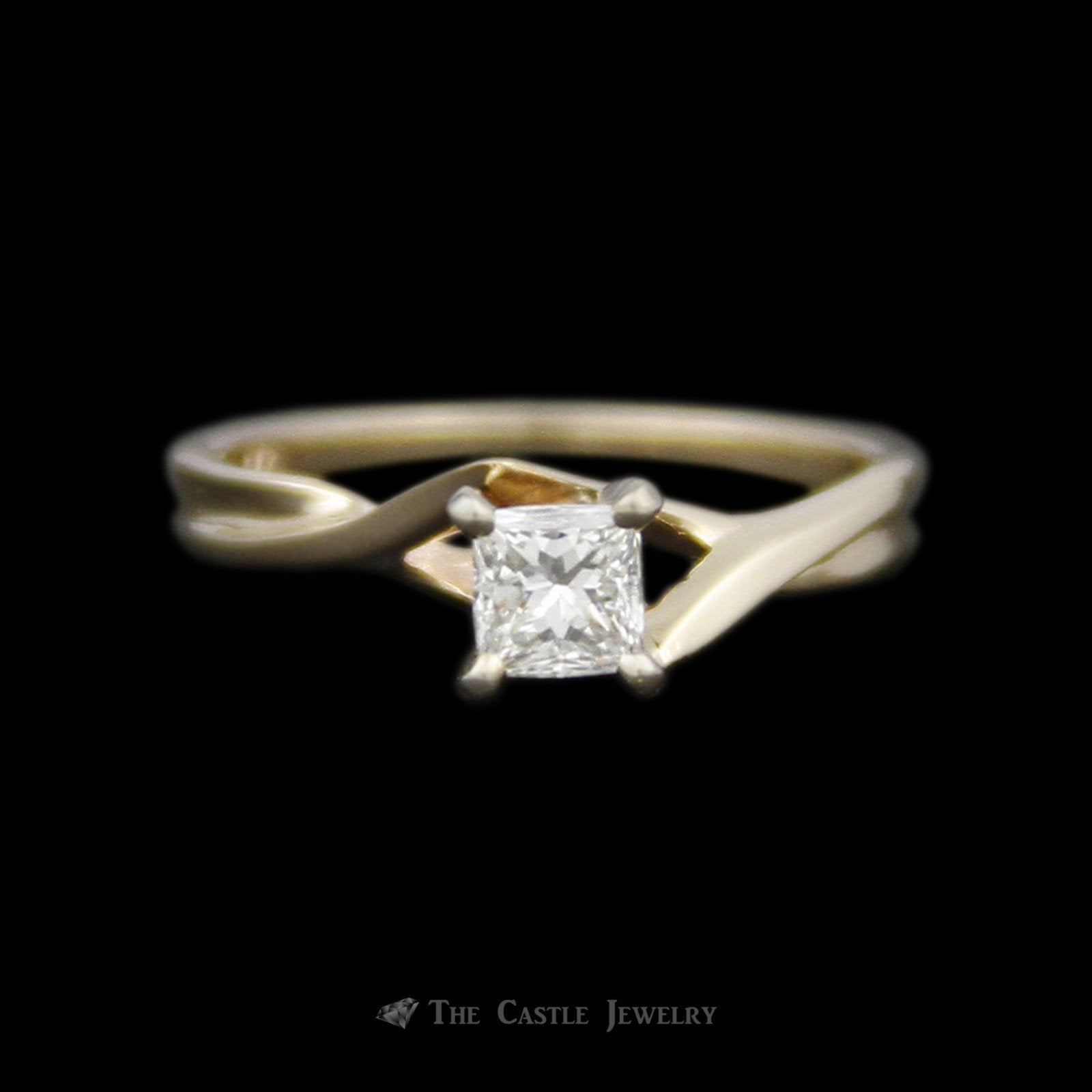 Princess Cut Diamond Solitaire Engagement Ring with Cross Over Design Mounting