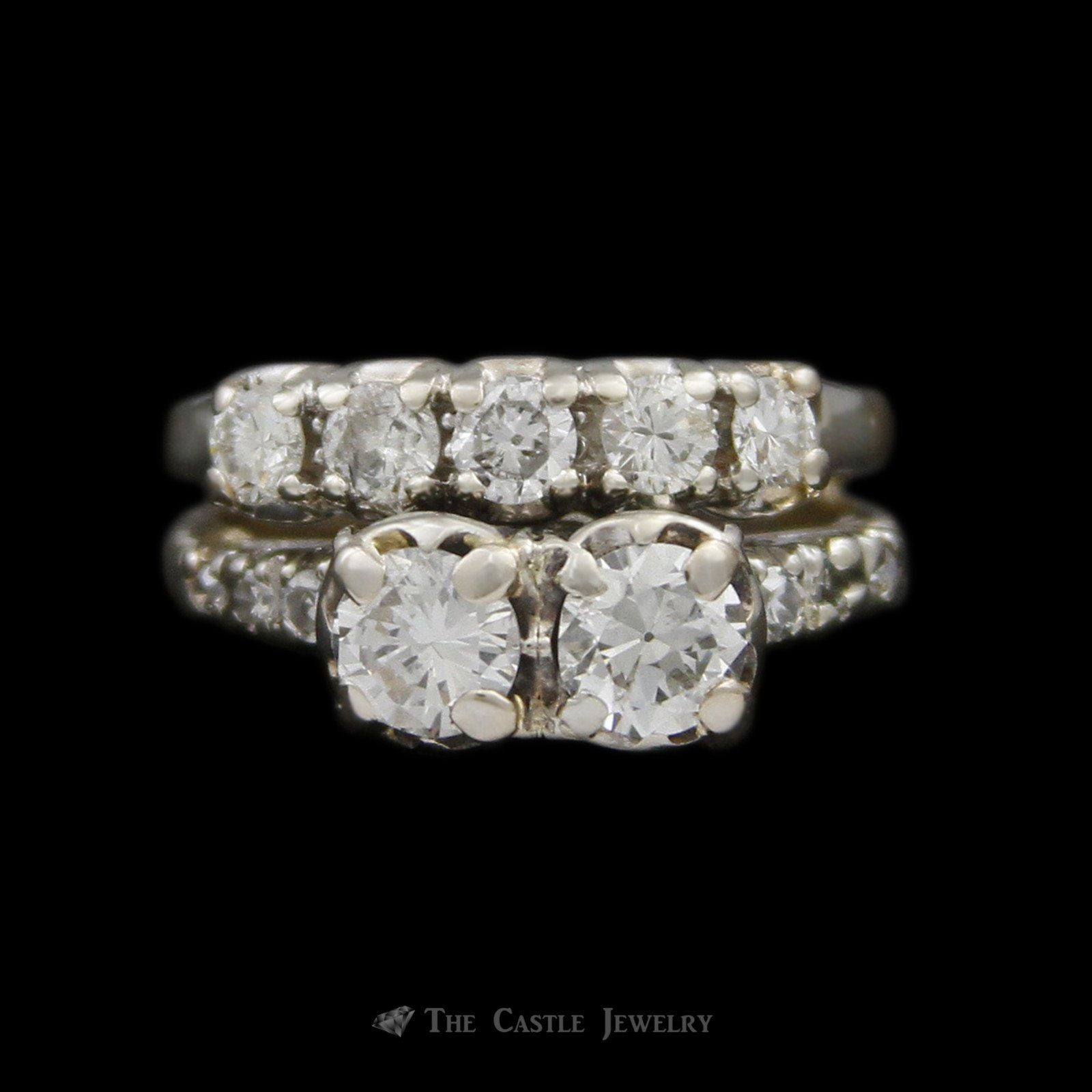 Antique Style Double Round Diamond Bridal Set w/ Diamond Sides & Soldered Band