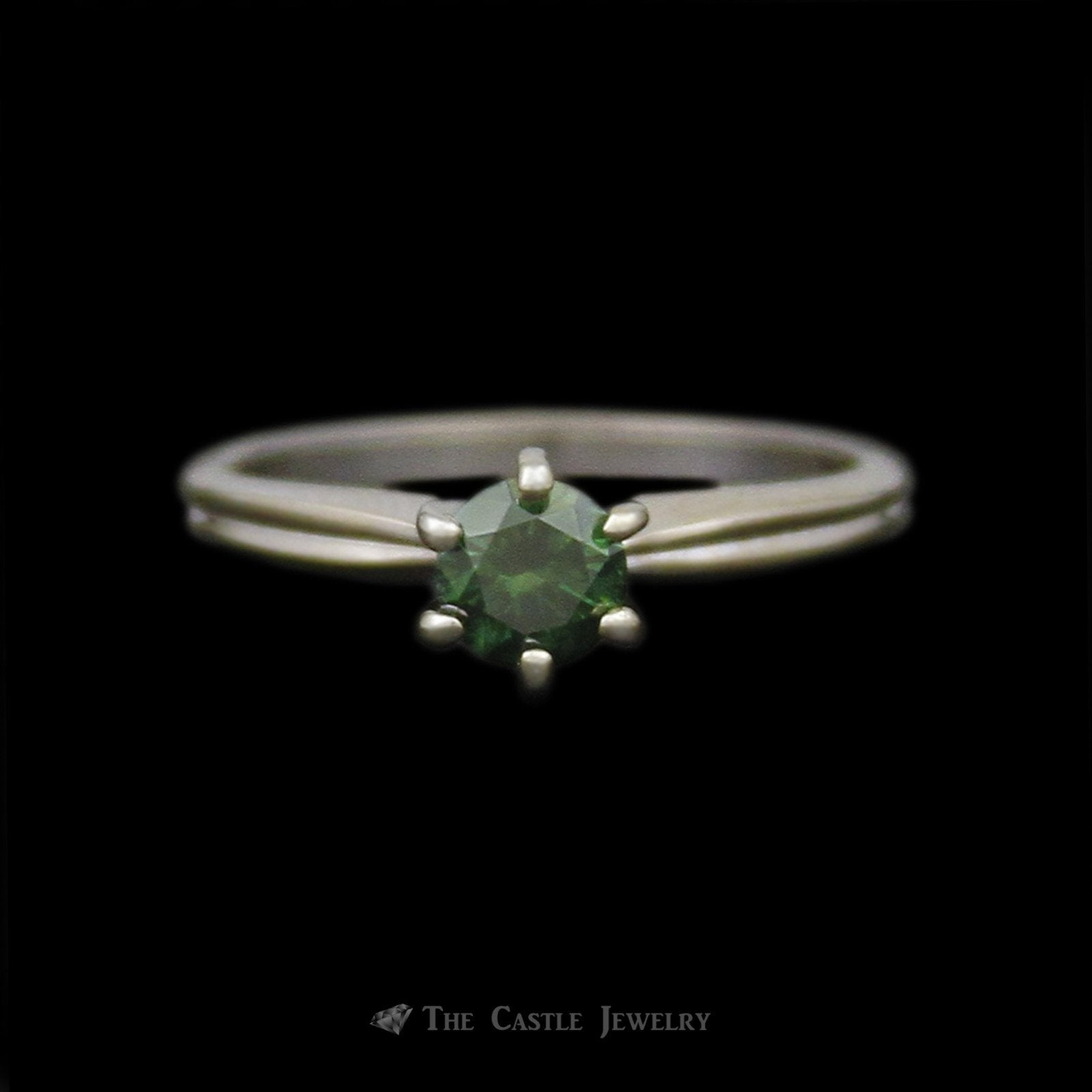 Round Color Treated Green Diamond Solitaire Engagement Ring in Tiffany Mount