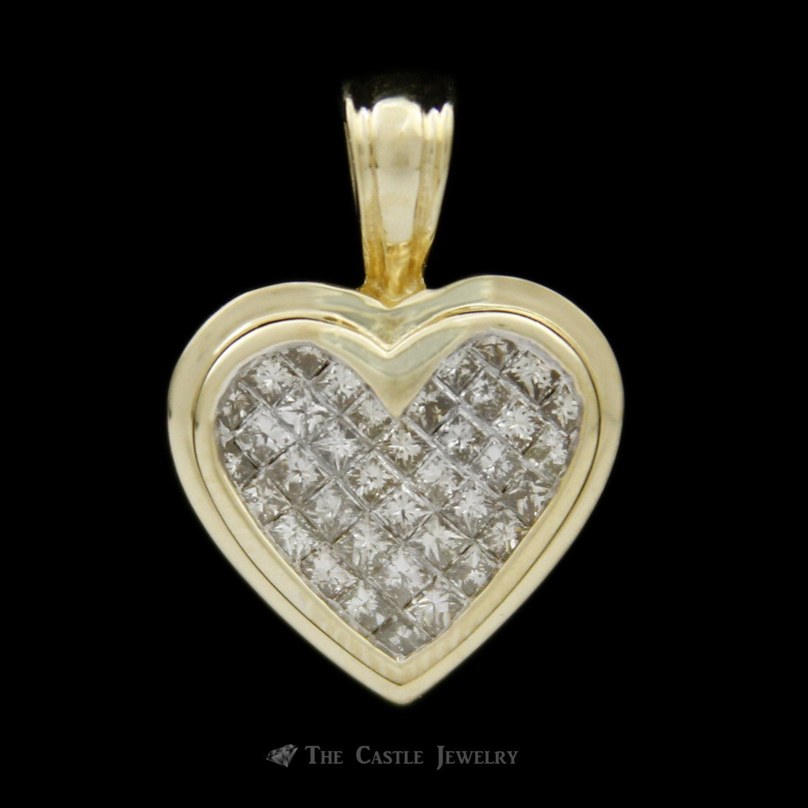 1cttw Heart Shaped Invisible Set Princess Cut Diamond Pendant Crafted