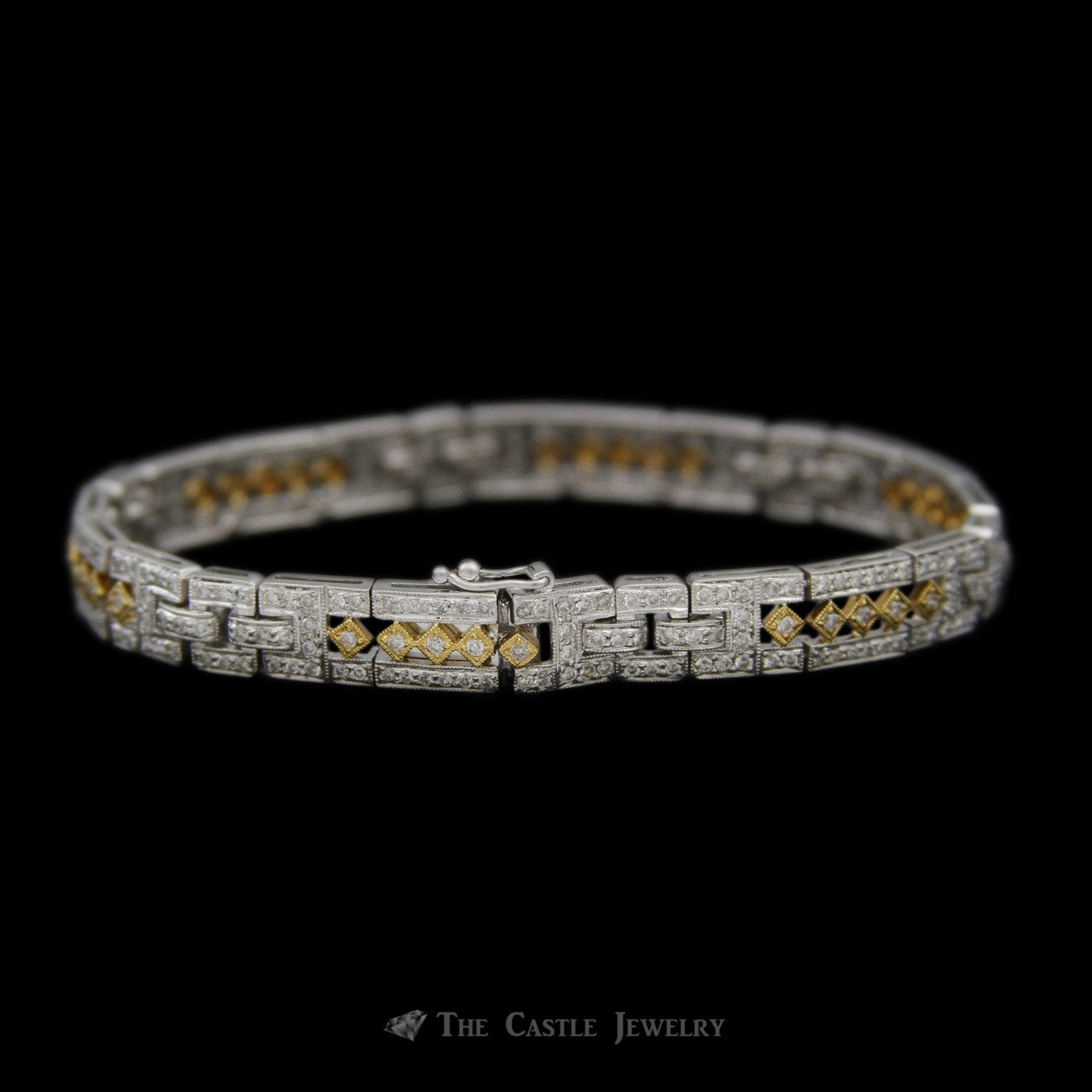 Open Link Design 2.50cttw Diamond Bracelet in 18K White Gold w/ Yellow Accents-2