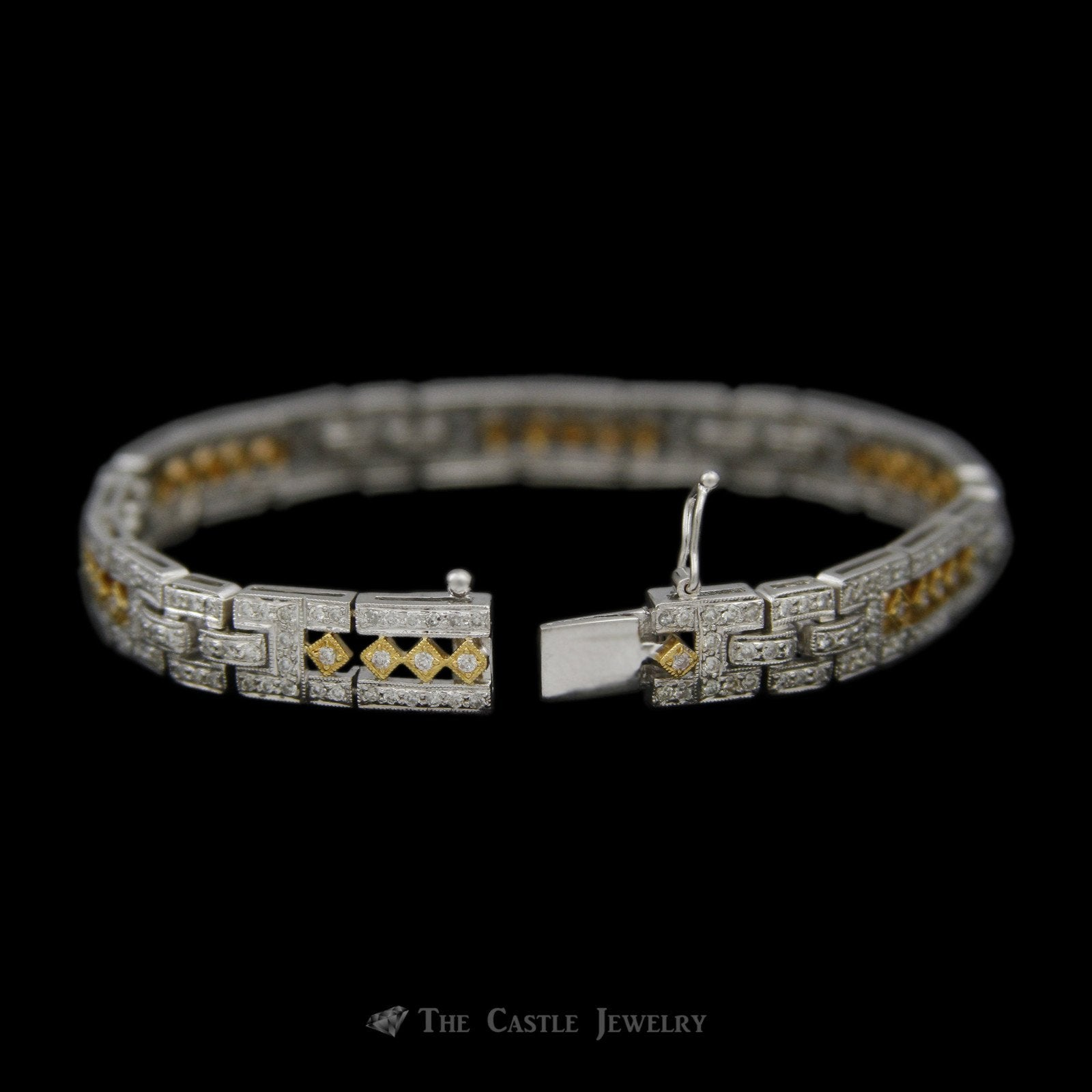 Open Link Design 2.50cttw Diamond Bracelet in 18K White Gold w/ Yellow Accents-1