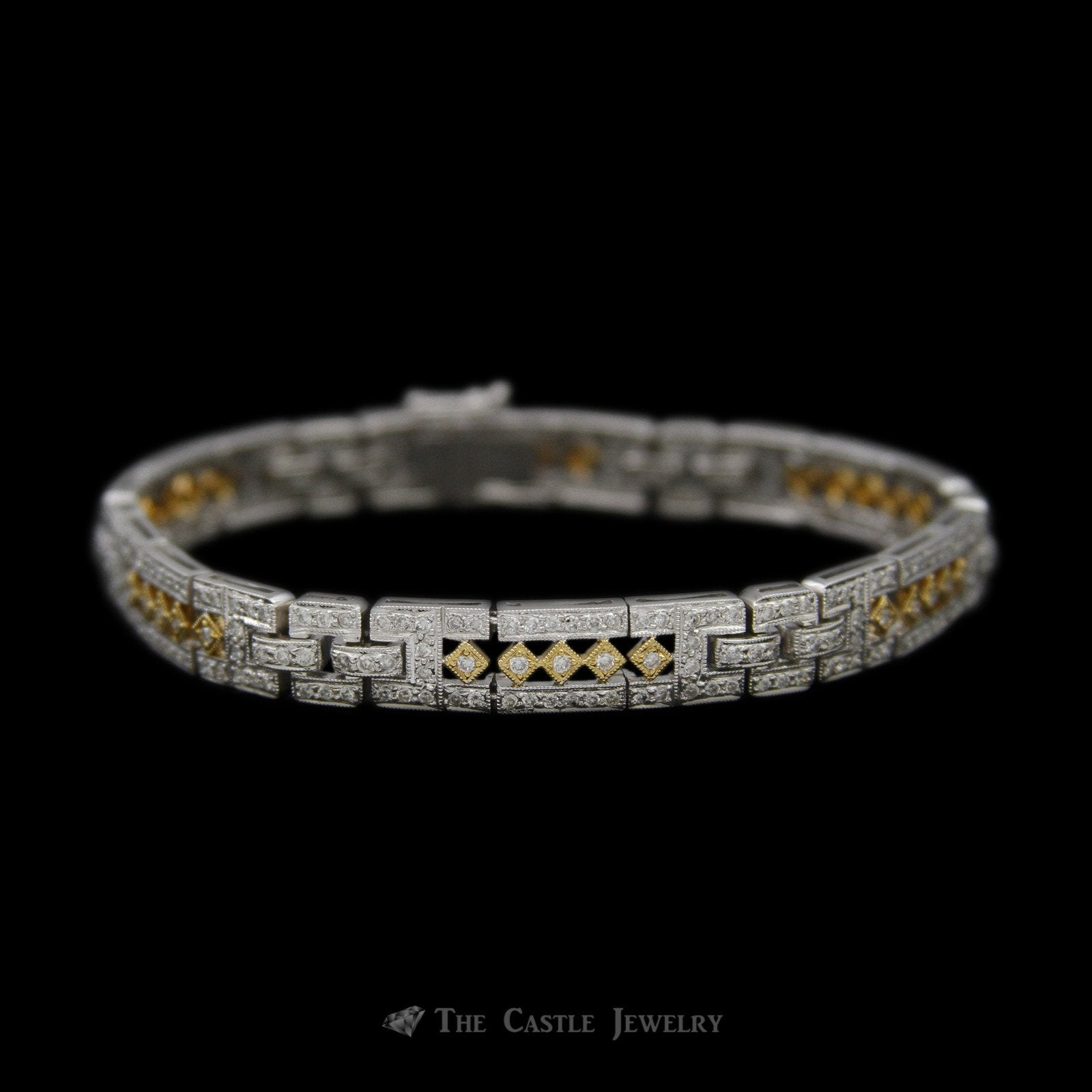 Open Link Design 2.50cttw Diamond Bracelet in 18K White Gold w/ Yellow Accents
