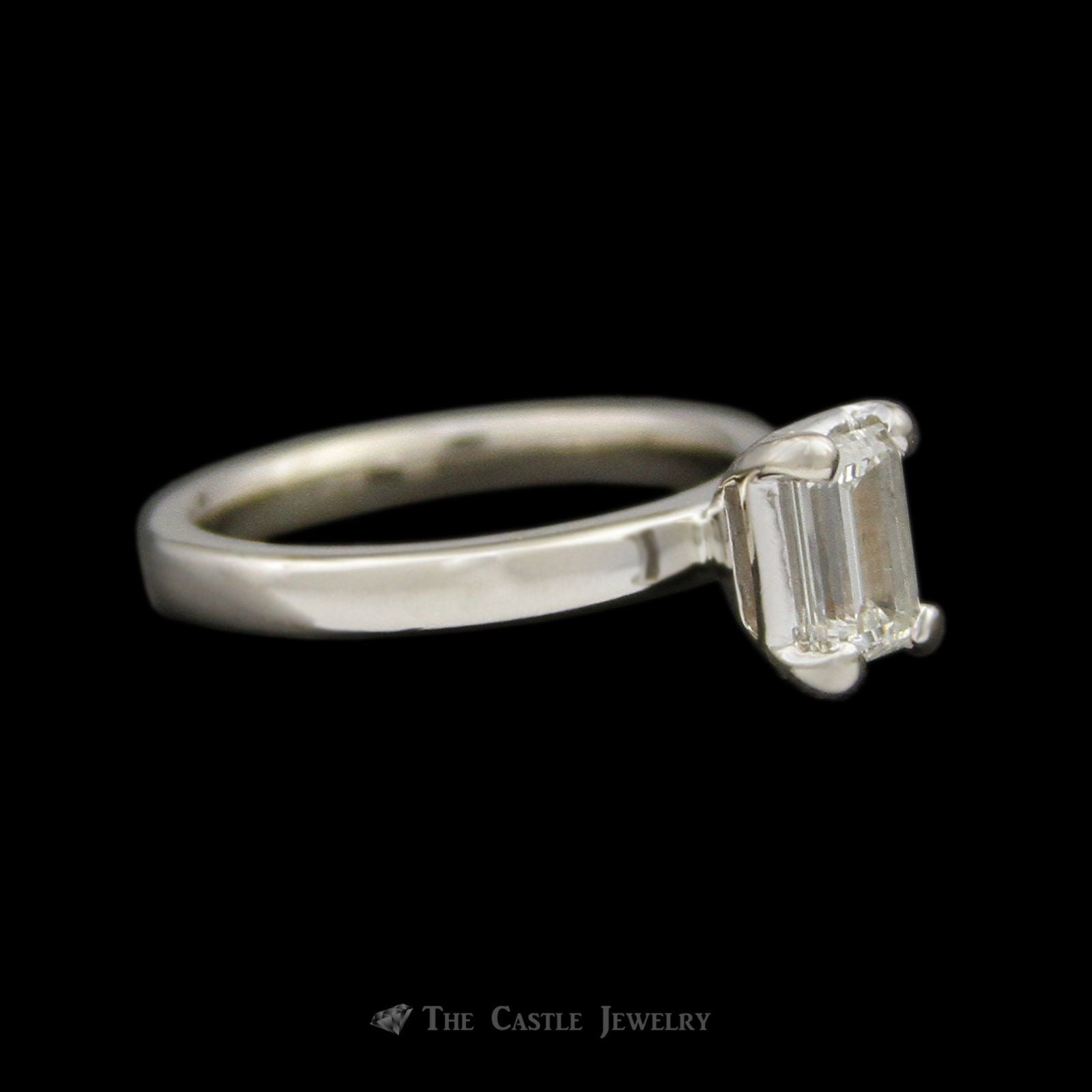 EGL Certified VS2/H Emerald Cut .74ct Diamond Solitaire Engagement Ring in 14K White Gold-2