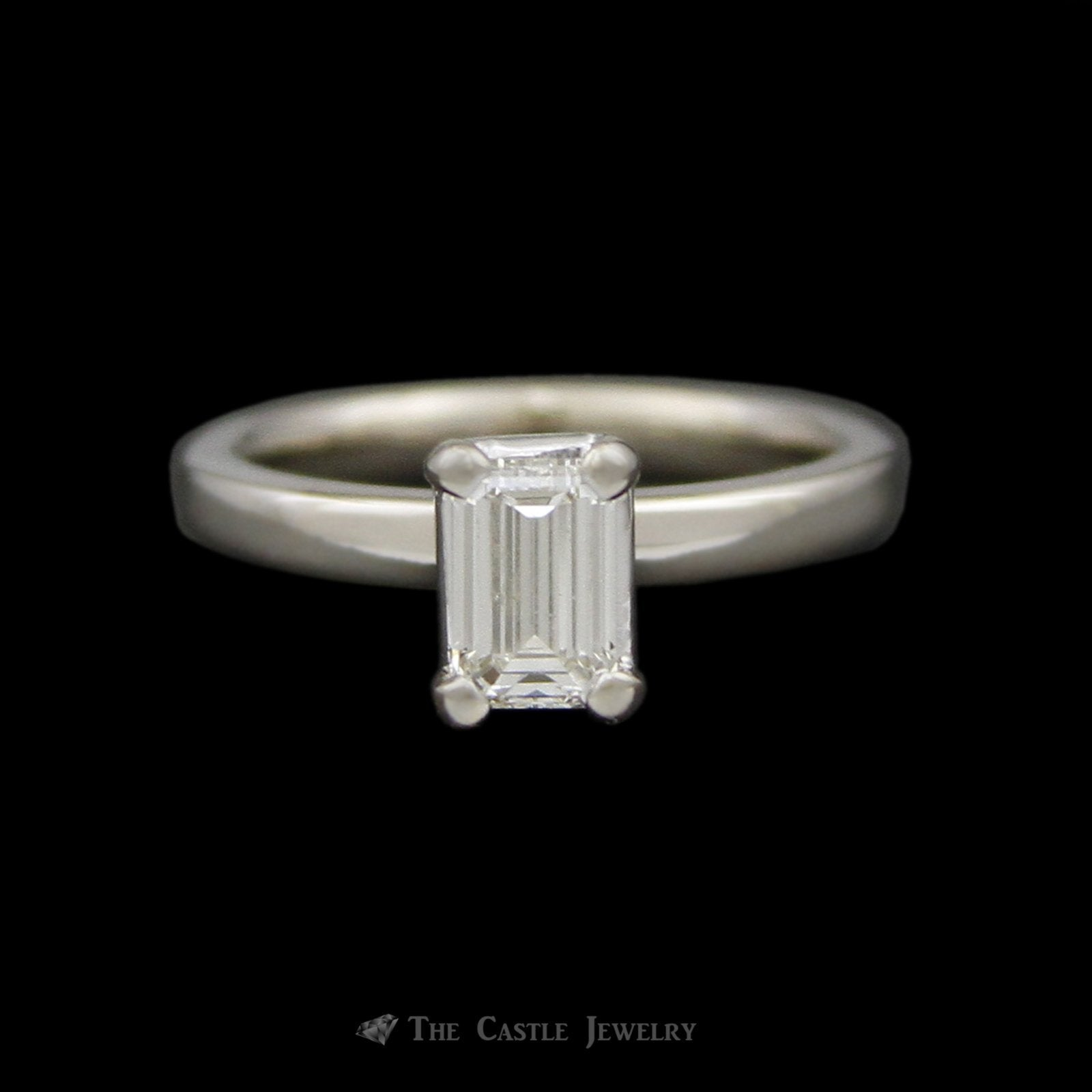 EGL Certified VS2/H Emerald Cut .74ct Diamond Solitaire Engagement Ring in 14K White Gold