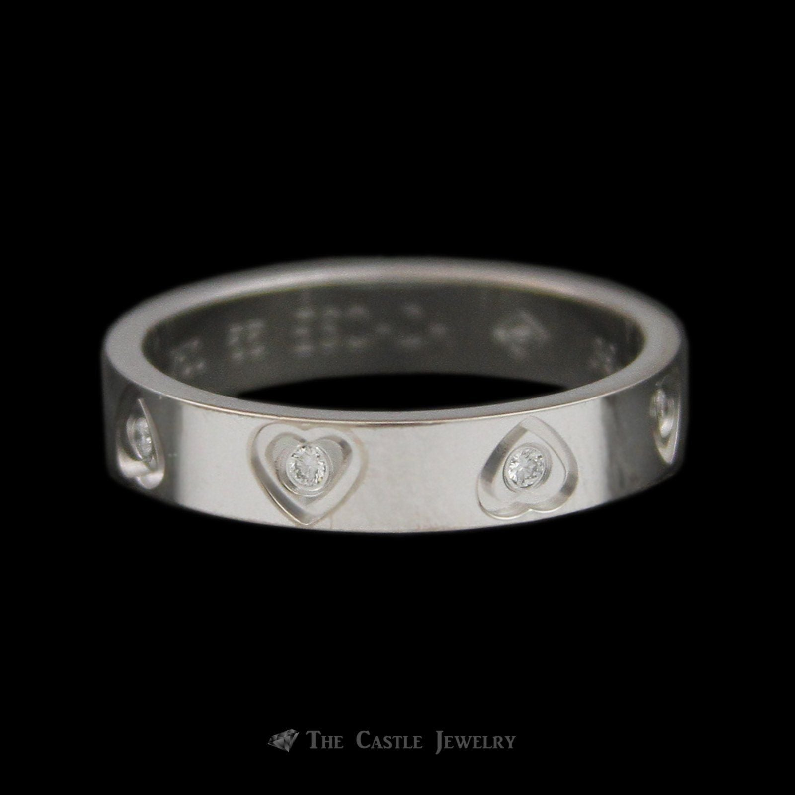 Designer Escada Flat Edge Heart Accent Eternity Band with Diamonds