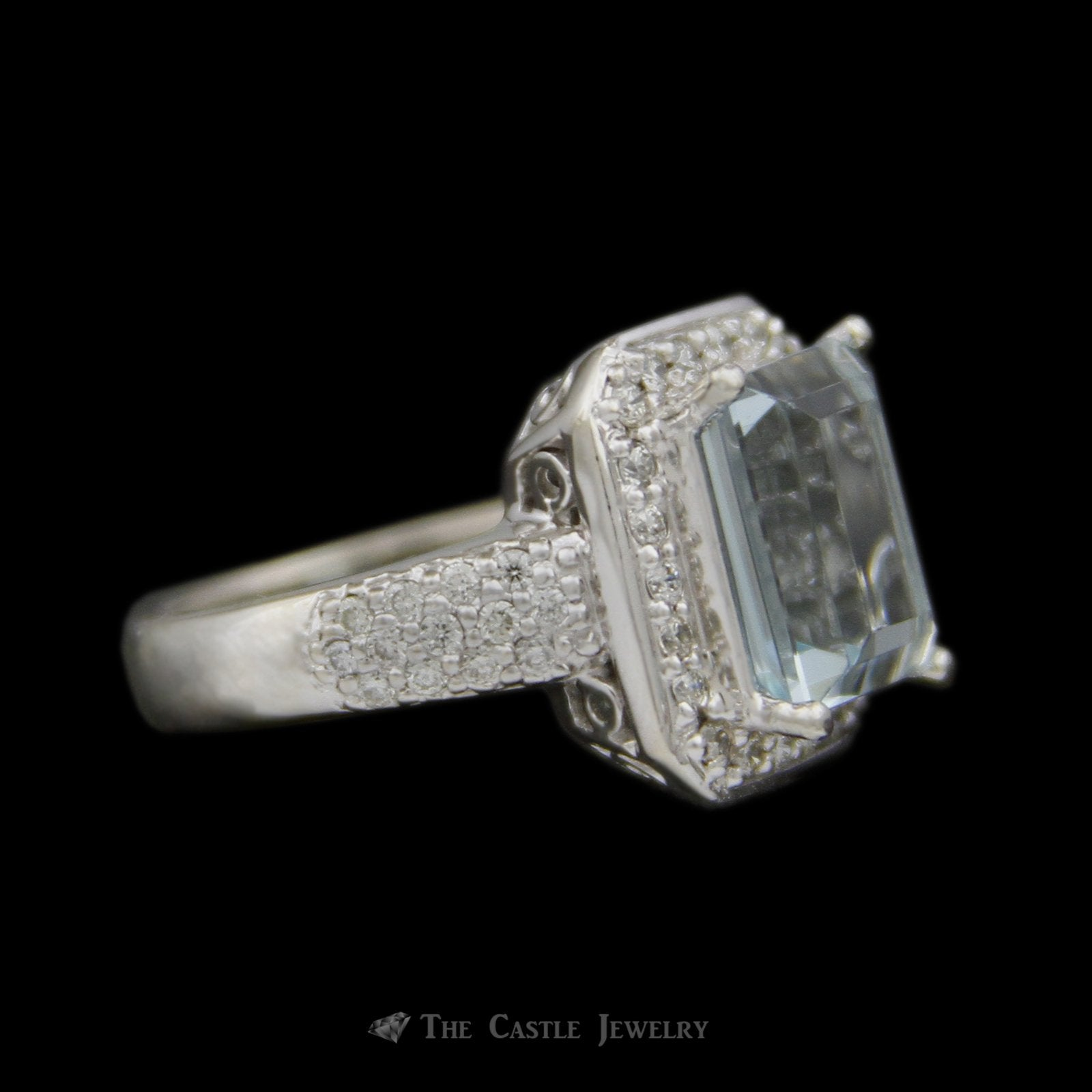 Emerald Cut 4.21ct Aquamarine Ring w/ Round Brilliant Cut Diamond Bezel & Sides in 14k White Gold-2