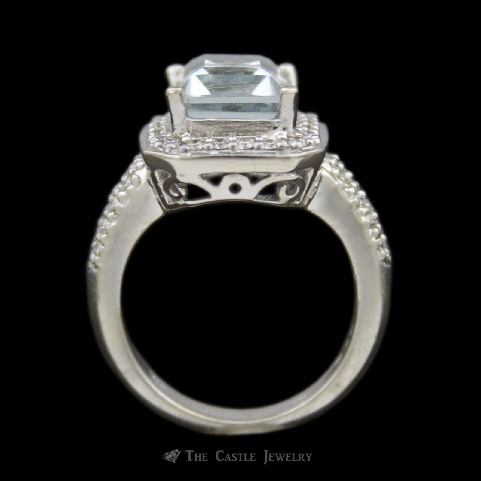 Emerald Cut 4.21ct Aquamarine Ring w/ Round Brilliant Cut Diamond Bezel & Sides in 14k White Gold-1