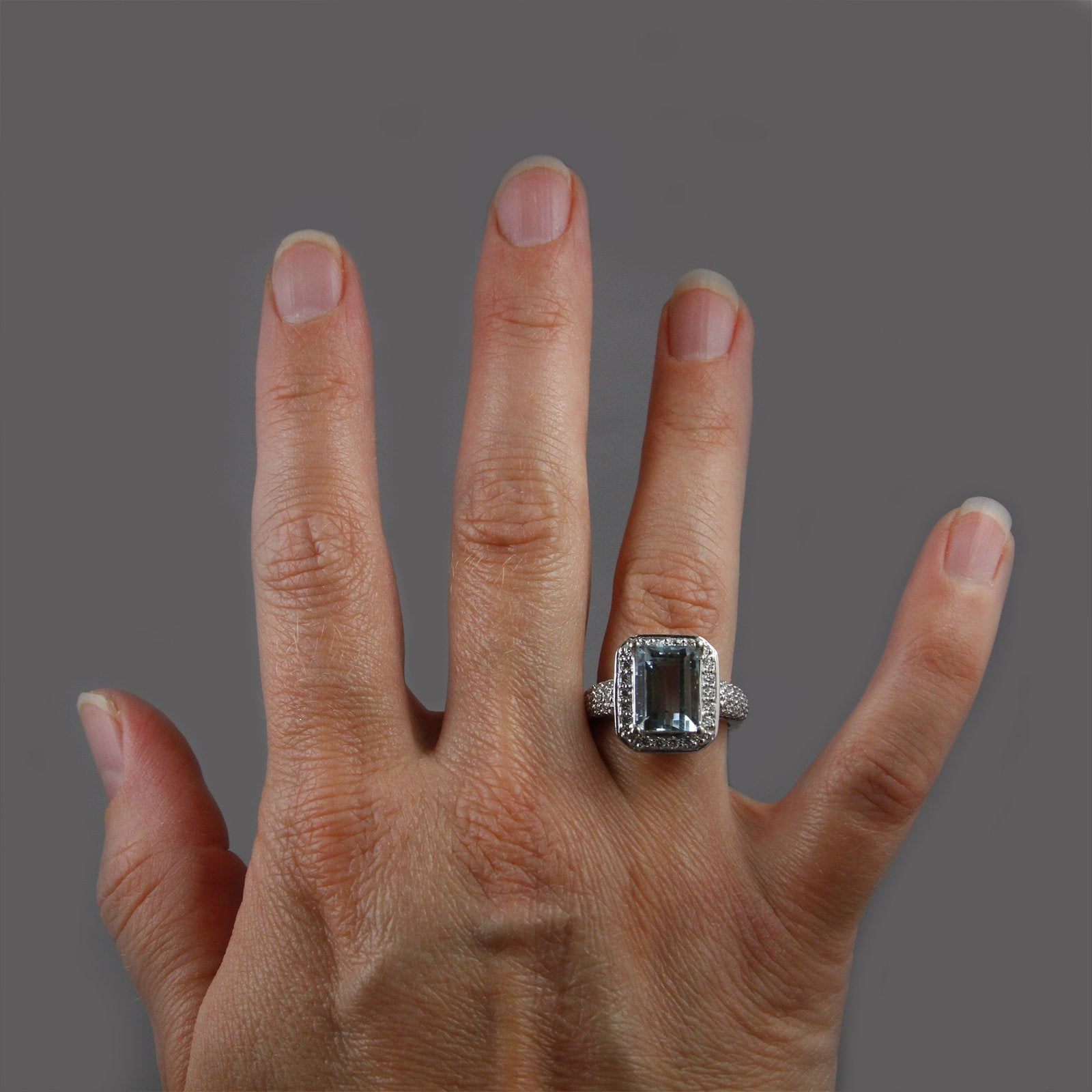 Emerald Cut 4.21ct Aquamarine Ring w/ Round Brilliant Cut Diamond Bezel & Sides in 14k White Gold-3