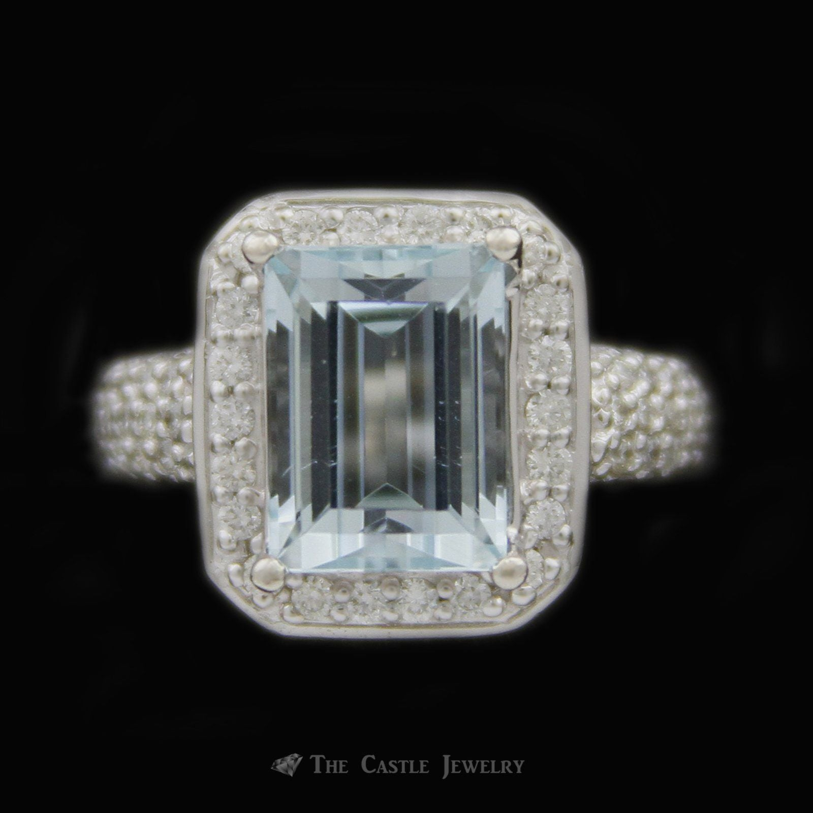 Emerald Cut 4.21ct Aquamarine Ring w/ Round Brilliant Cut Diamond Bezel & Sides in 14k White Gold