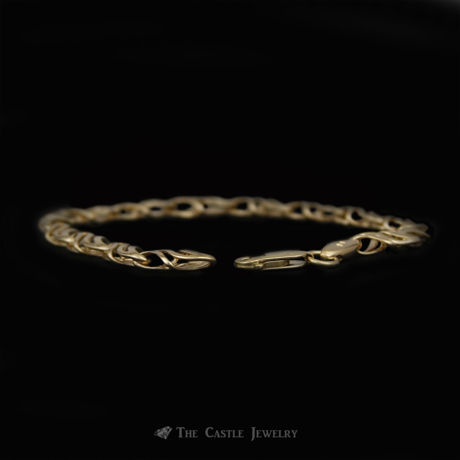 Open Swirled/Wave Design Link 7.5 Inch Gold Bracelet Crafted in 14k Yellow Gold