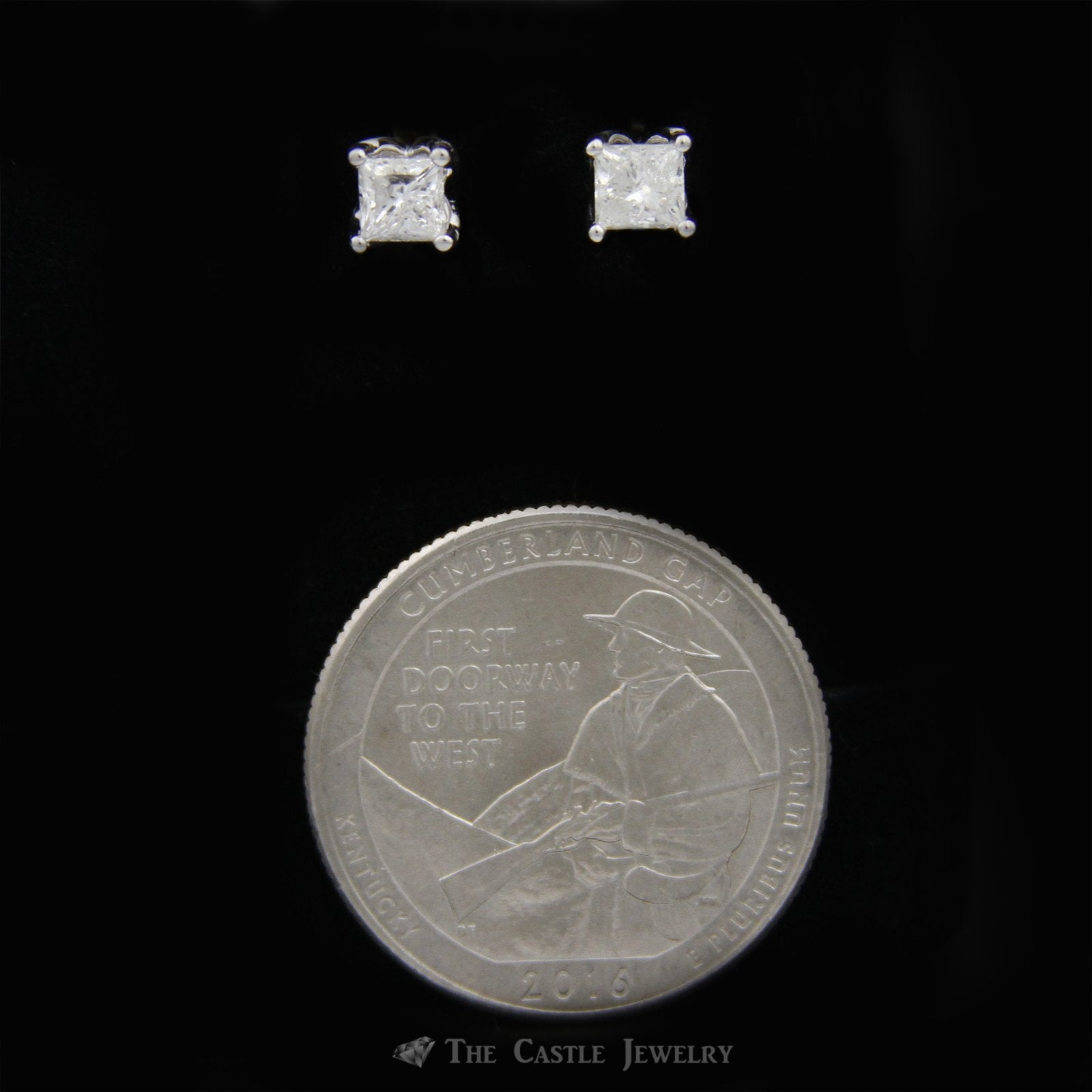 Princess Diamond Studs with .75cttw & Round Diamond Accented Mount