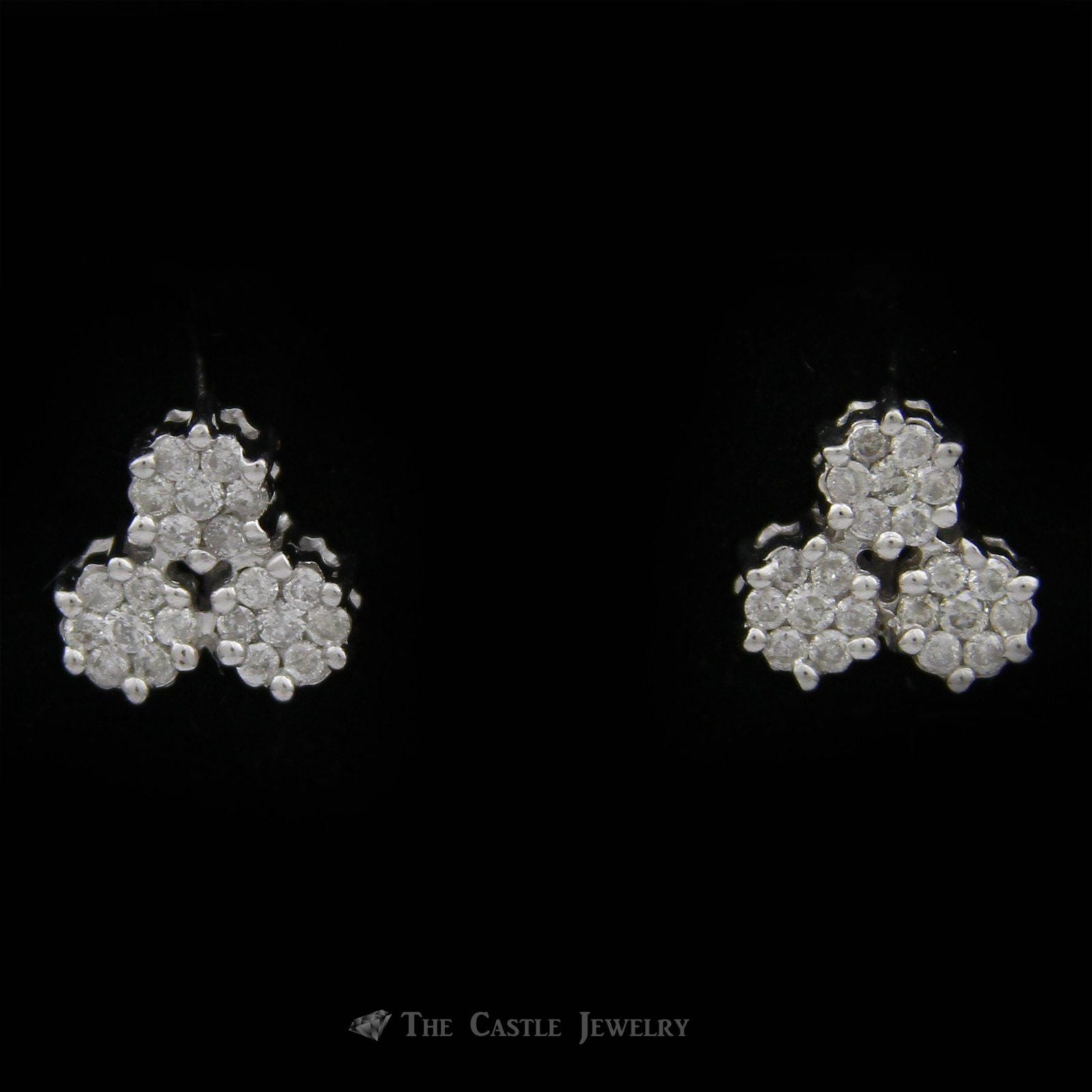 Triple Round Cluster Stud Earrings w/ .50cttw Round Diamonds & Butterfly Backs in 10k White Gold