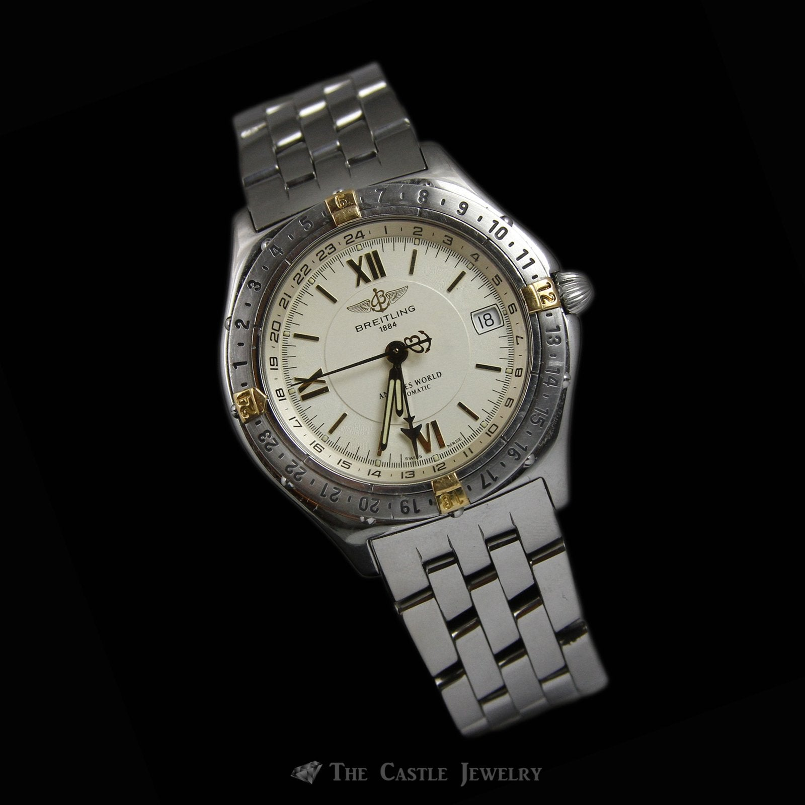 Rare Stainless Steel & 18K Breitling Antares World Watch w/ Gold Dial & Rotating Bezel-3