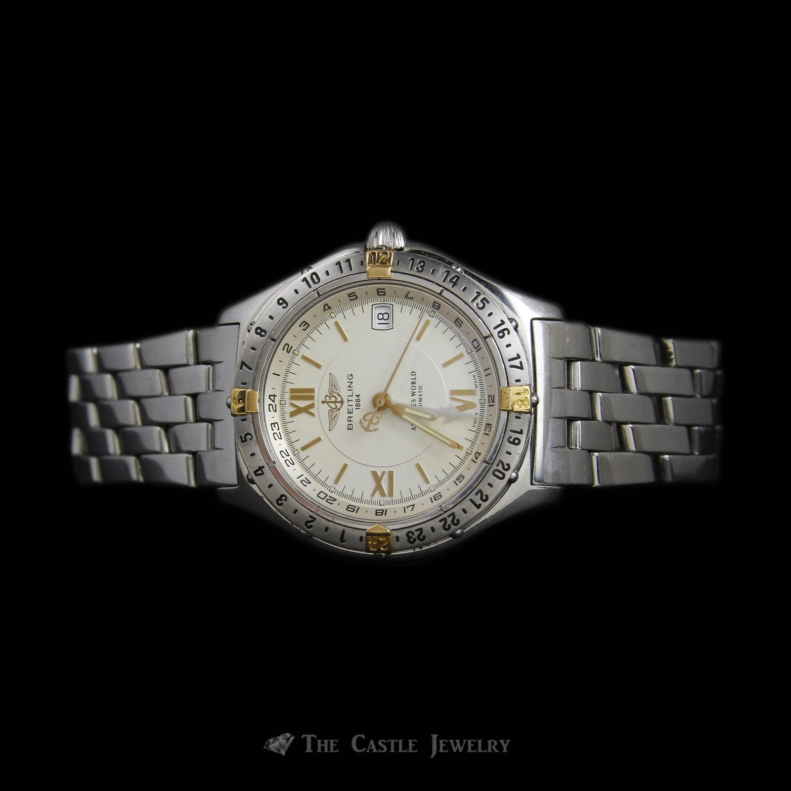 Rare Stainless Steel & 18K Breitling Antares World Watch w/ Gold Dial & Rotating Bezel-2