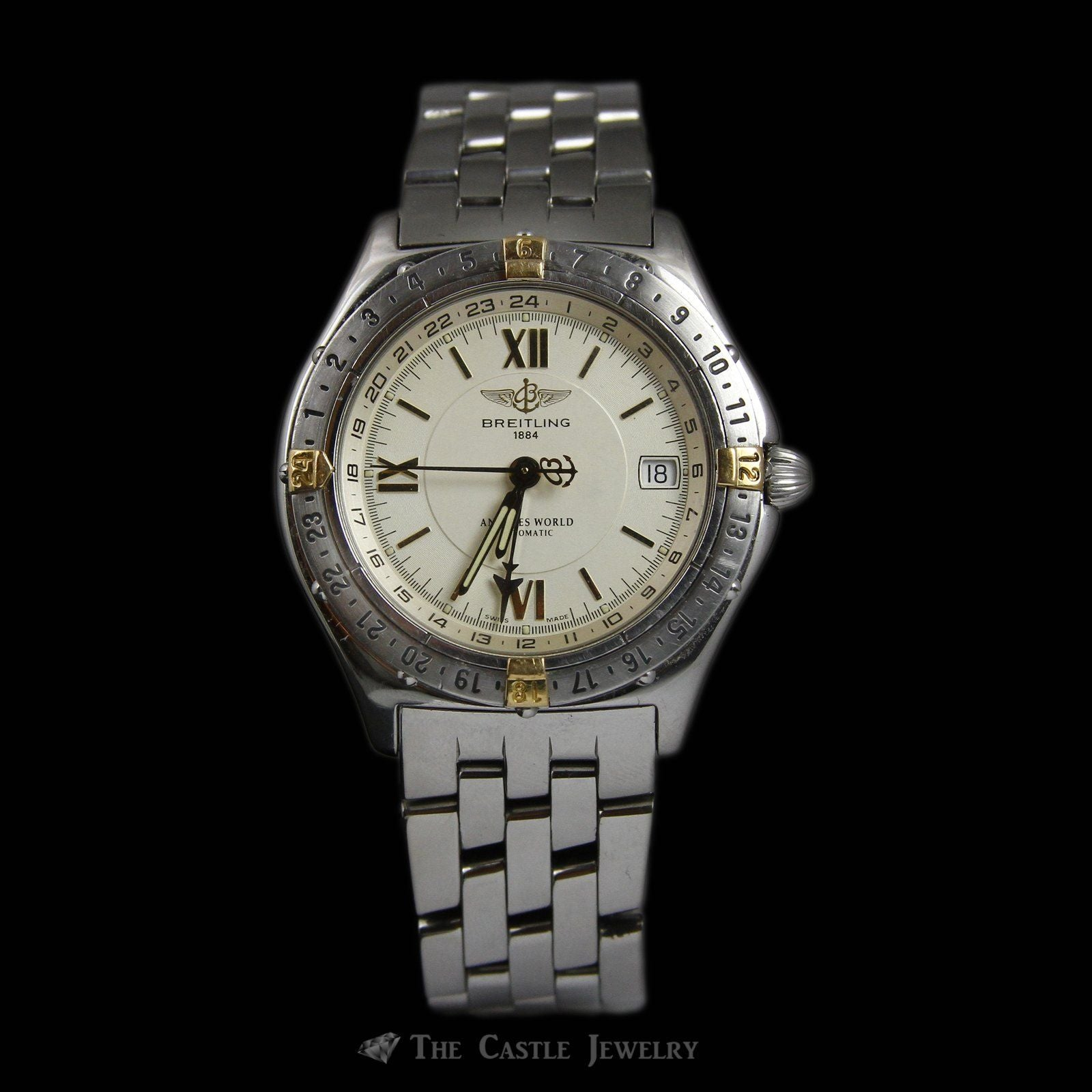 Rare Stainless Steel & 18K Breitling Antares World Watch w/ Gold Dial & Rotating Bezel