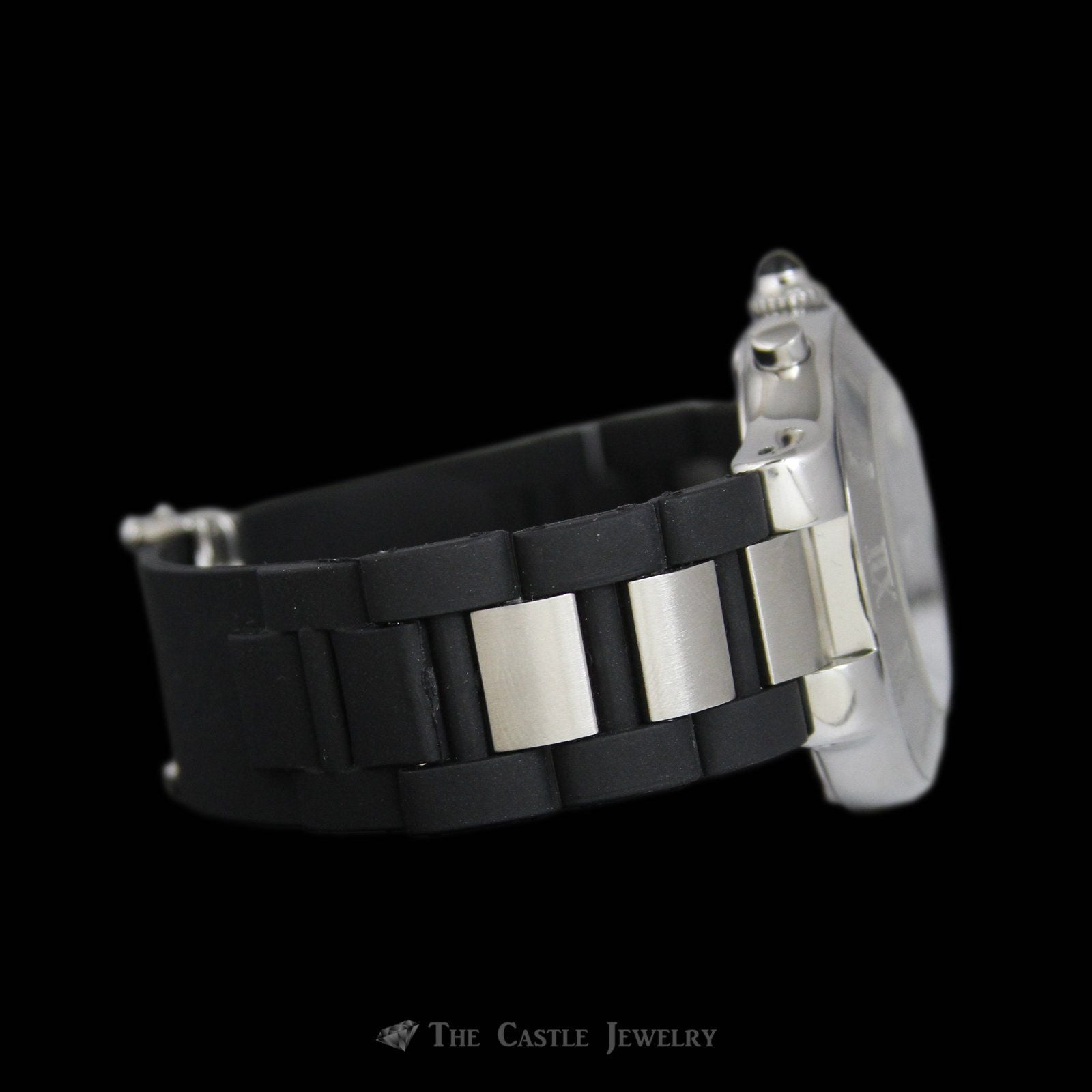 Authentic Cartier Watch w/ Black dial & Roman Numeral Bezel Rubber & Stainless Strap-4