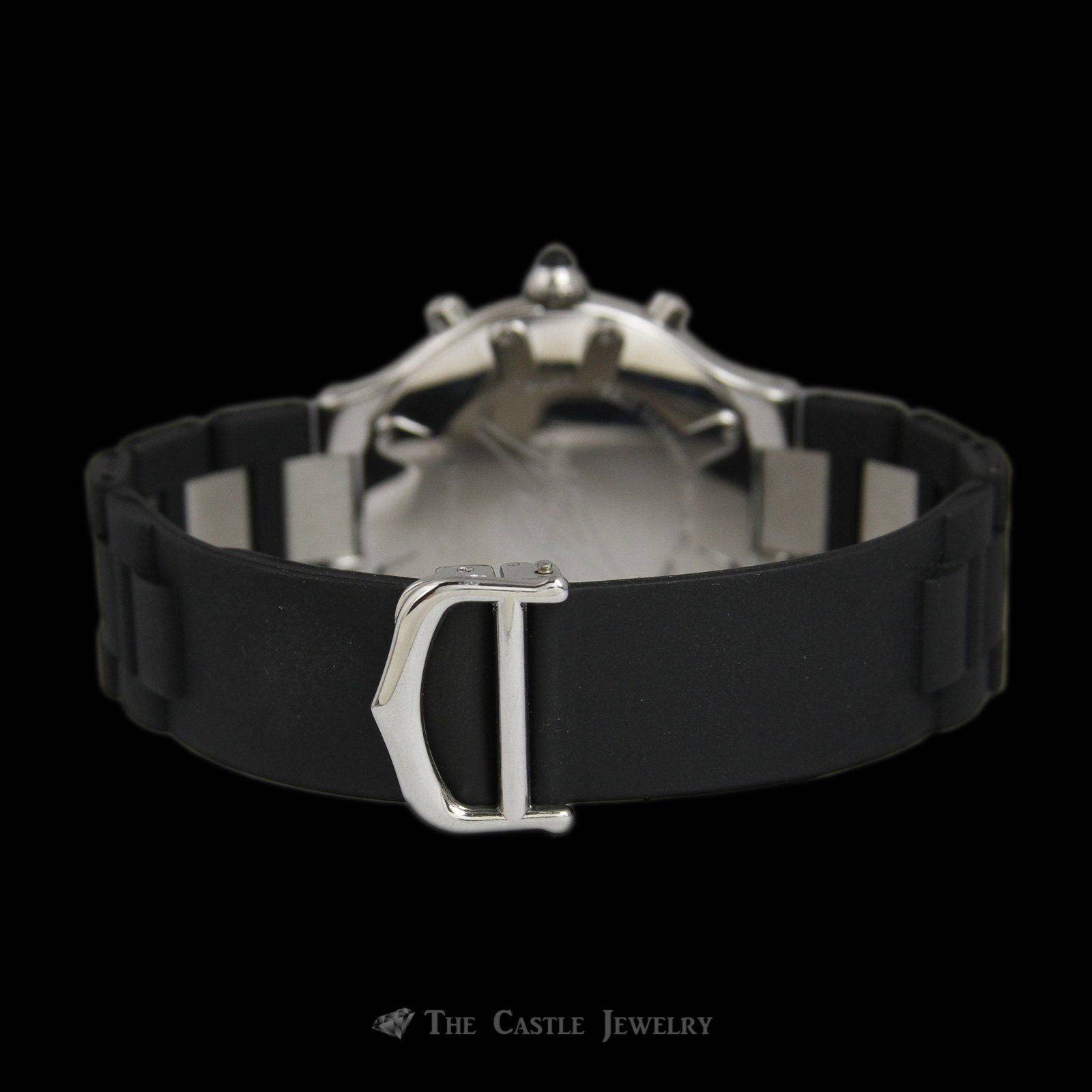 Authentic Cartier Watch w/ Black dial & Roman Numeral Bezel Rubber & Stainless Strap