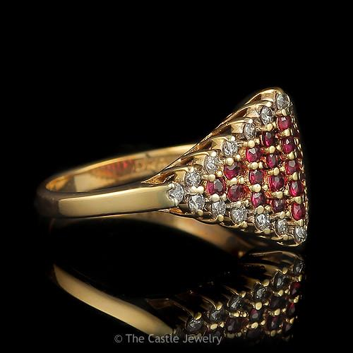 Diamond Shape Ruby Cluster Ring with 1/2ctw Diamond Bezel in 14k Gold-2