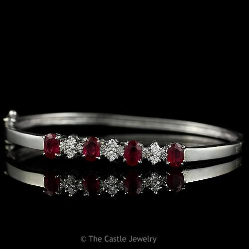 Ruby & Diamond Hard Bangle Bracelet in 14K Solid White Gold-0
