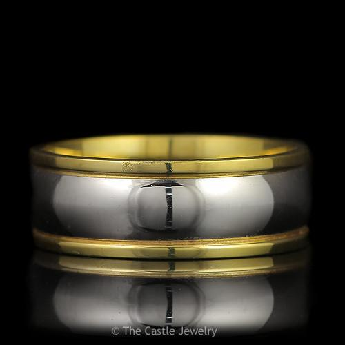 Multi-Toned 8mm Platinum and 18K Solid Yellow Gold Comfort Fit Wedding Band