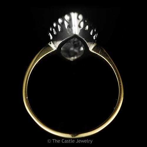 Marquise Shaped 1cttw 3 Round Diamond Ring in 14k Yellow Gold-1