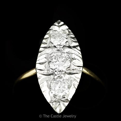 Marquise Shaped 1cttw 3 Round Diamond Ring in 14k Yellow Gold