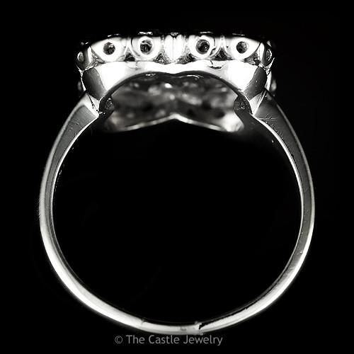 Round Diamond Ring With Square Shaped Open Mounting Crafted in Platinum-1