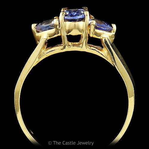 Oval Cut and Trillion Cut Tanzanite Ring in 14k Yellow Gold Cathedral Mounting-1