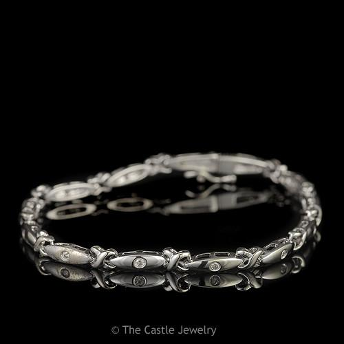 Bar and X Link Bracelet with Bezel Set Diamonds in 14K White Gold