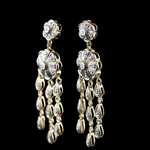 Round Diamond Chandelier Dangle Flower Teardrop Earrings .50 cttw 14k Gold-1