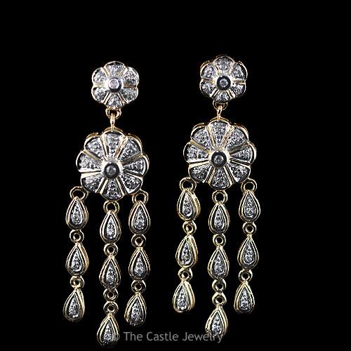 Round Diamond Chandelier Dangle Flower Teardrop Earrings .50 cttw 14k Gold