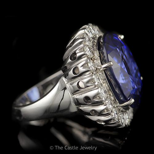 Recrystalized Over 30 Carats Oval Sapphire with 2 cttw Round Diamond Halo-2