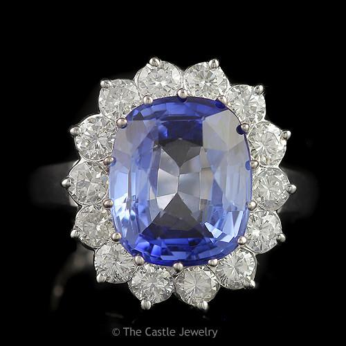 Large Oval Sapphire with Round Brilliant Cut Diamond Halo in 14K White Gold-0