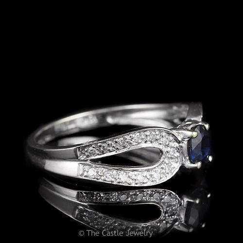 Oval Sapphire Ring with Curved Split Shank Diamond Accented Mounting in 18K White Gold-2