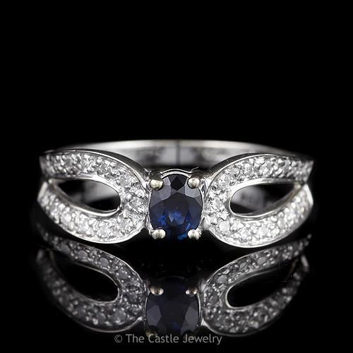 Oval Sapphire Ring with Curved Split Shank Diamond Accented Mounting in 18K White Gold