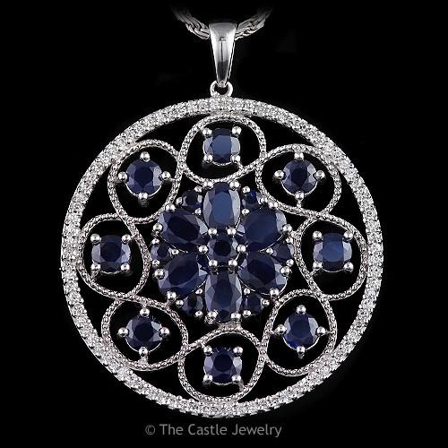 Sapphire and Diamond Large Disc Pendant Open Swirl Design in 14K White Gold