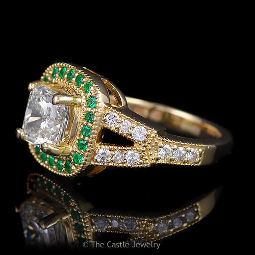 Vintage Estate Engagement Ring Featuring a Princess Cut Diamond & Emerald Bezel-2