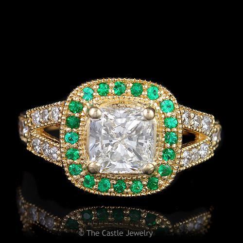 Vintage Estate Engagement Ring Featuring a Princess Cut Diamond & Emerald Bezel