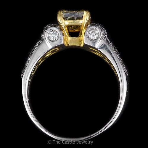 Radiant Cut Natural Yellow Engagement Ring with Yellow & White Diamond Accents in Multi Toned Gold-1