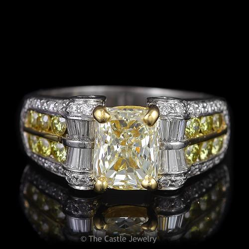 Radiant Cut Natural Yellow Engagement Ring with Yellow & White Diamond Accents in Multi Toned Gold