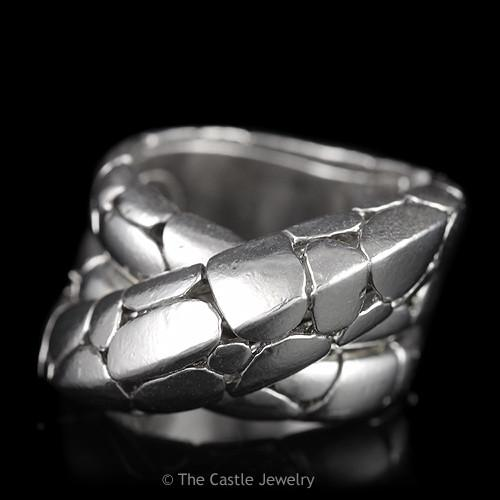 John Hardy Kali Twist Band Pebble Stone Motif in Sterling Silver