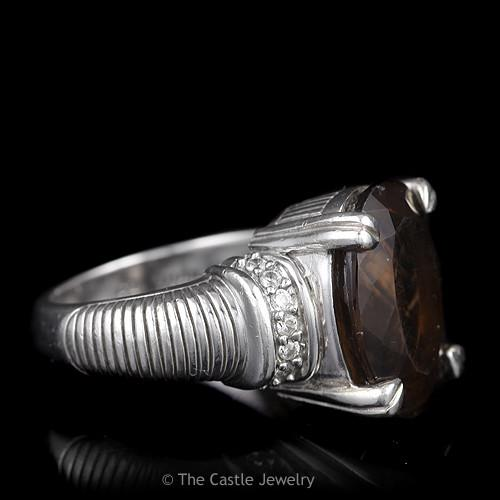 Judith Ripka Oval Smokey Quartz Ring with Cubic Zirconia Sides, Sterling Silver-2