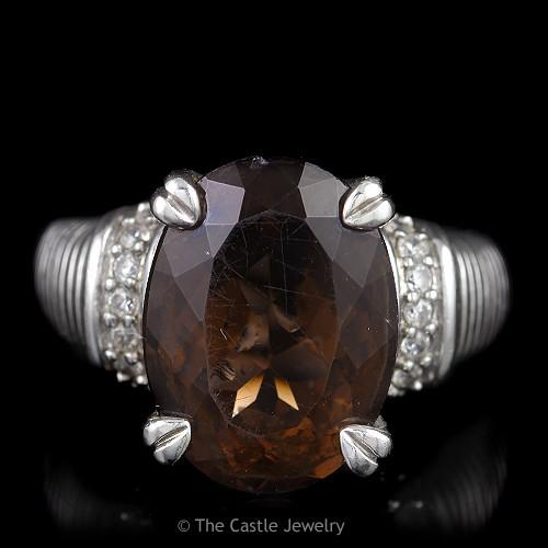 Judith Ripka Oval Smokey Quartz Ring with Cubic Zirconia Sides, Sterling Silver