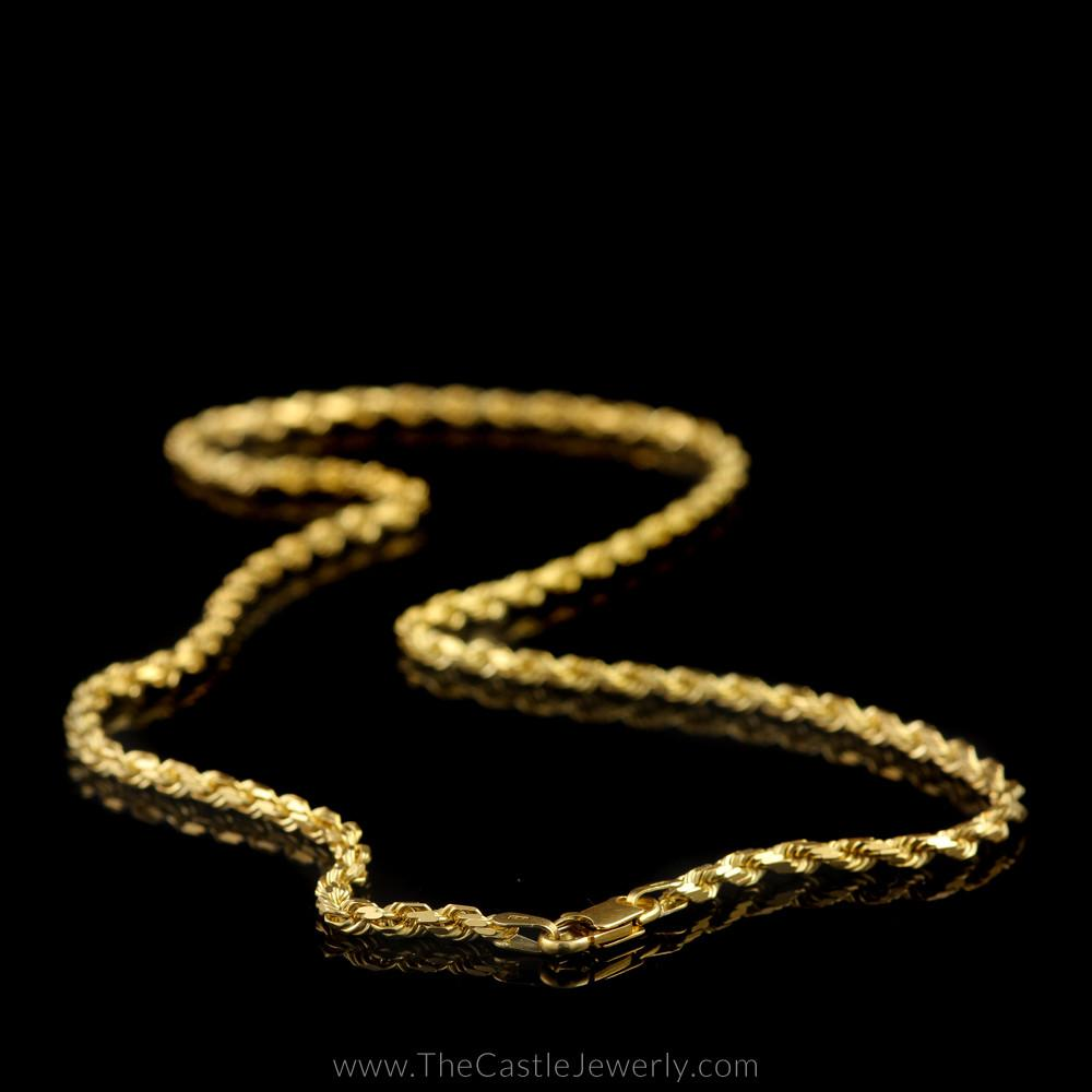 Diamond Cut Rope Chain 18″ 14K Yellow Gold 3mm Thick-2